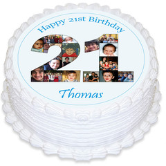 Photo Collage 21st Birthday Round Edible Icing Cake Topper - PRE-CUT - EI281R