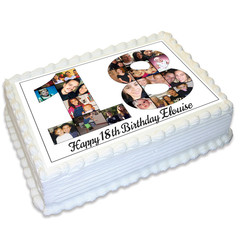 Photo Collage Rectangle Edible Icing Cake Topper - FREE EXPRESS SHIPPING