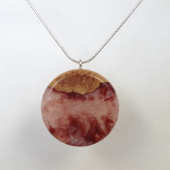 Maple Wood with Purple / Mauve and White Mix resin Pendant
