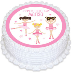 Ballerina Dance Round Edible Icing Cake Topper - PRE-CUT - FREE EXPRESS SHIPPING