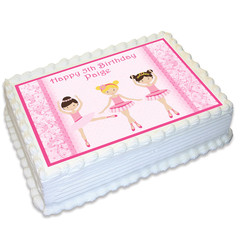 Ballerina Dance Rectangle Edible Icing Cake Topper - FREE EXPRESS SHIPPING