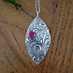 Recycled Siver and Ruby pendant with chain