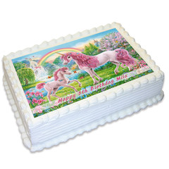 Unicorn Horse Pony Rectangle Edible Icing Cake Topper - FREE EXPRESS SHIPPING
