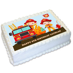 Fireman Fire Engine Rectangle Edible Icing Cake Topper - FREE EXPRESS SHIPPING