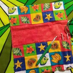 Crochet Hook Handy Wrap-Bright shells,fruit, floral print
