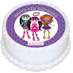 Monster High Round Edible Icing Cake Topper - PRE-CUT - FREE EXPRESS SHIPPING