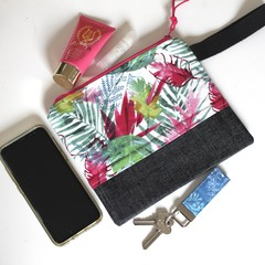 Pink and green leaves ladies wristlet clutch bag