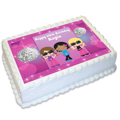 Disco Dance Rectangle Edible Icing Cake Topper - FREE EXPRESS SHIPPING
