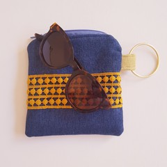 Blue and mustard yellow ladies coin purse