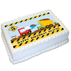 Construction Zone Rectangle Edible Icing Cake Topper - FREE EXPRESS SHIPPING