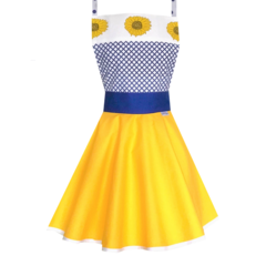 Sunflower Blue and Yellow Women's Apron - Australian Made Apron