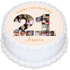 Photo Collage 21st Birthday Round Edible Icing Cake Topper - PRE-CUT - EI284R
