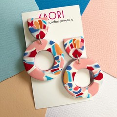 Polymer clay earrings, statement earrings in marbled pink red blue