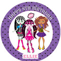 Monster High Inspired Pre-cut Round Edible Icing Cake Topper - EI007R