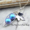 Peas In A Pod Necklace Iridescent Light Blue Choose Your Colour Pearls