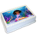 Mermaid Under The Sea Rectangle Edible Icing Cake Topper - FREE EXPRESS SHIPPING