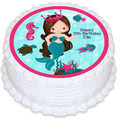 Mermaid Under The Sea Pre-cut Round Edible Icing Cake Topper - EI272R