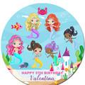Mermaid Round Edible Icing Cake Topper - PRE-CUT - EI285R