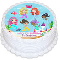 Mermaid Under The Sea Pre-cut Round Edible Icing Cake Topper - EI285R