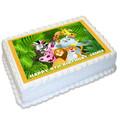 Jungle Animal Safari Rectangle Edible Icing Cake Topper - FREE EXPRESS SHIPPING