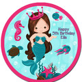 Mermaid Under The Sea Pre-cut Round Edible Icing Cake Topper - EI272R