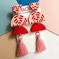 Polymer clay earrings, statement earrings in pink and red stitches