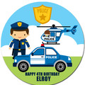 Police Round Edible Icing Cake Topper - PRE-CUT - FREE EXPRESS SHIPPING