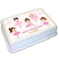 Ballerina Dance Rectangle Edible Icing Cake Topper - EI162A4