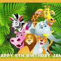 Jungle Animal Safari Rectangle Edible Icing Cake Topper - EI214A4