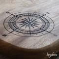 Wood Burnt Ship Compass Camphor Laurel Cutting Board