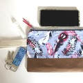 Blue and Pink feather ladies Wristlet bag