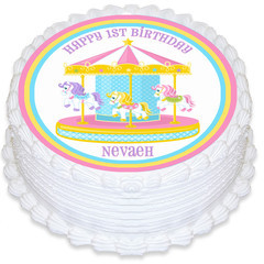 Horse Carousel Round Edible Icing Cake Topper - PRE-CUT - FREE EXPRESS SHIPPING