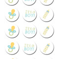 Baby Boy Edible Icing Cupcake Toppers - PRE-CUT Sheet of 15 - EI133C