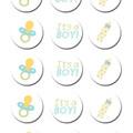 Baby Boy Edible Icing Cupcake Toppers - PRE-CUT Sheet of 15 - FREE EXPRESS SHIP