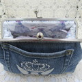 Women's clutch - Recycled Repurposed Denim Jean Clutch-  Diamante Crown Pocket