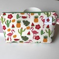 Flamingos and pineapple large zipper make up toiletries bag