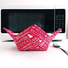 Hot Bowl Cozy | Hot Bowl Holder | Christmas | Red | Reversible | Free Shipping