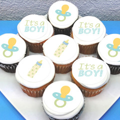 Baby Boy Edible Icing Cupcake Toppers - PRE-CUT Sheet of 15 - FREE EXPRESS SHIP