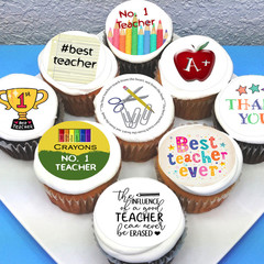 Teacher Edible Icing Cupcake Toppers - PRE-CUT Sheet of 15 - FREE EXPRESS SHIP