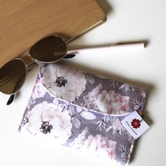 Lavender and white floral ladies clutch bag