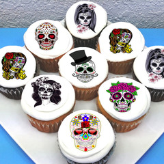 Sugar Skulls Edible Cupcake Toppers - PRE-CUT Sheet of 15 - FREE EXPRESS SHIP