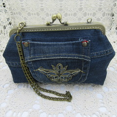Women's clutch - Recycled Repurposed Denim Jean Clutch- Boho Bronze Motif Pocket