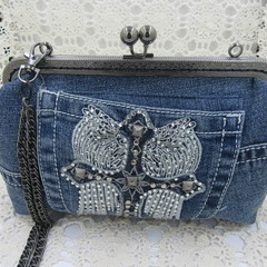 Women's clutch - Recycled Repurposed Denim Jean Clutch - Angel Wing and Cross
