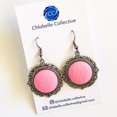 Small pink faux leather dangles