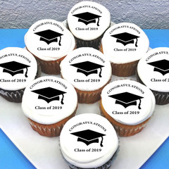 Graduation  Edible Cupcake Toppers - PRE-CUT Sheet of 15 - FREE EXPRESS SHIP