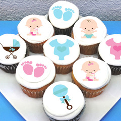 Baby Edible Icing Cupcake Toppers - PRE-CUT Sheet of 15 - FREE EXPRESS SHIP