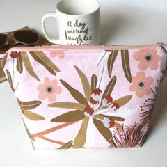 Pink and gold flora make up toiletries women bag