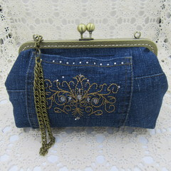 Women's clutch - Recycled Repurposed Denim Jean Clutch-  Bronze Motif Pocket
