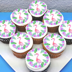 Flamingo Edible Icing Cupcake Toppers - PRE-CUT Sheet of 15 - FREE EXPRESS SHIP