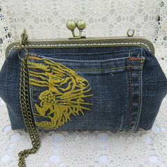 Women's clutch - Recycled Repurposed Denim Jean Clutch-  Gold Embroidered Pocket